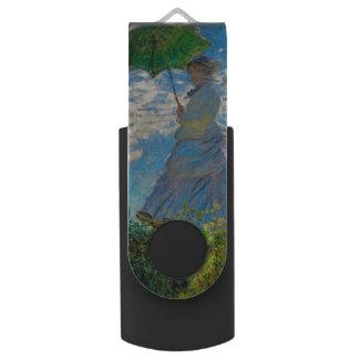 Woman with a Parasol Claude Monet Impressionist Swivel USB 2.0 Flash Drive