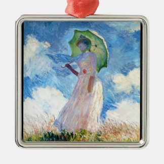 Woman with a Parasol  Claude Monet Silver-Colored Square Decoration