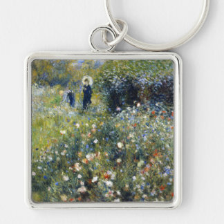 Woman with a Parasol in a Garden, Renoir Silver-Colored Square Key Ring