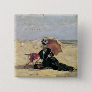 Woman with a Parasol on the Beach, 1880 15 Cm Square Badge