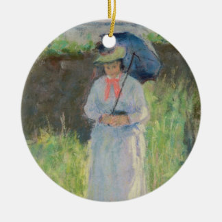 Woman with a Parasol (pastel on paper) Christmas Ornament