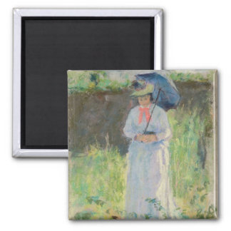 Woman with a Parasol (pastel on paper) Magnet