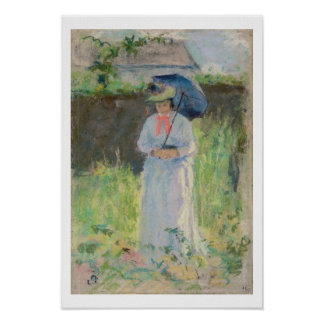 Woman with a Parasol (pastel on paper) Poster