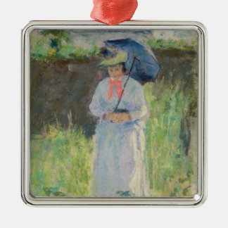 Woman with a Parasol (pastel on paper) Silver-Colored Square Decoration
