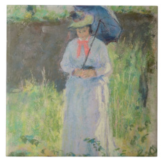 Woman with a Parasol (pastel on paper) Tile