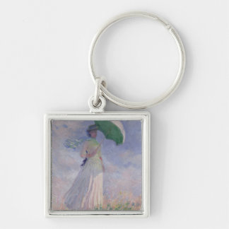 Woman with a Parasol turned to the Right, 1886 Silver-Colored Square Key Ring