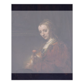Woman with a Pink Carnation by Rembrandt van Rijn Flyer