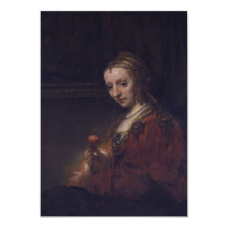 Woman with a Pink Carnation by Rembrandt van Rijn Invite