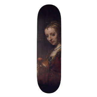 Woman with a Pink Carnation by Rembrandt van Rijn Skate Deck