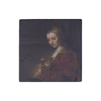 Woman with a Pink Carnation by Rembrandt van Rijn Stone Magnet