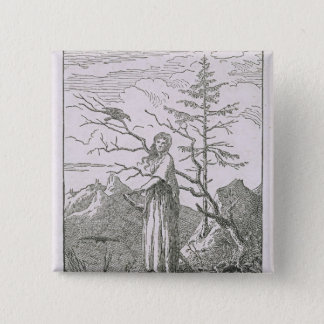 Woman with a Raven, on the Edge of a Precipice 15 Cm Square Badge