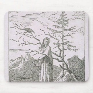Woman with a Raven, on the Edge of a Precipice Mouse Mat