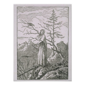 Woman with a Raven, on the Edge of a Precipice Poster