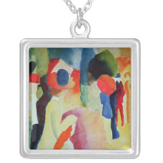 Woman with a Yellow Jacket, 1913 Silver Plated Necklace
