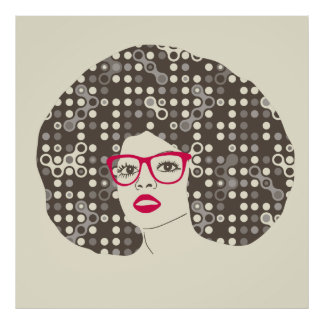 Woman with afro hair illustration poster
