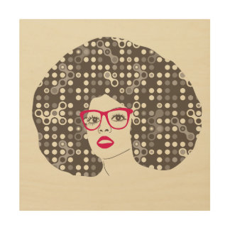 Woman with afro hair illustration wood prints