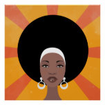 Woman with afro hair portrait illustration poster