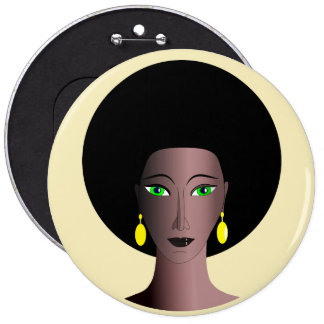 WOMAN WITH AFRO Retro Button