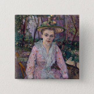 Woman with an Umbrella, 1889 15 Cm Square Badge