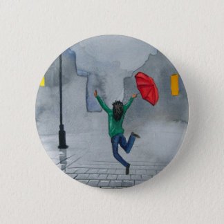 WOMAN WITH AN UMBRELLA 6 CM ROUND BADGE