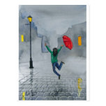 WOMAN WITH AN UMBRELLA POST CARDS