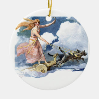 Woman with Cat Chariot Artwork Christmas Ornament