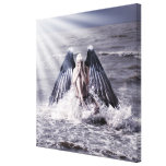 woman with dark angel wings gallery wrapped canvas