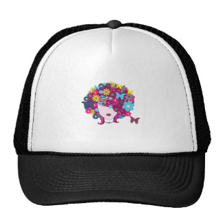 Woman with floral hair illustration mesh hat