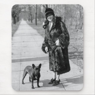 Woman with French Bulldog, 1920s Mouse Mat