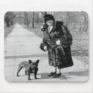 Woman with French Bulldog, 1920s Mousepad