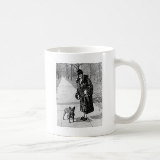 Woman with French Bulldog, 1920s Classic White Coffee Mug