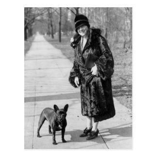 Woman with French Bulldog 1920s Post Card