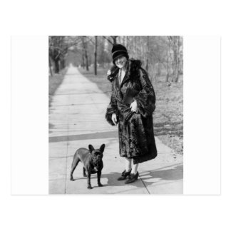 Woman with French Bulldog 1920s Post Cards