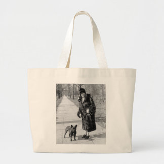 Woman with French Bulldog 1920s Tote Bags