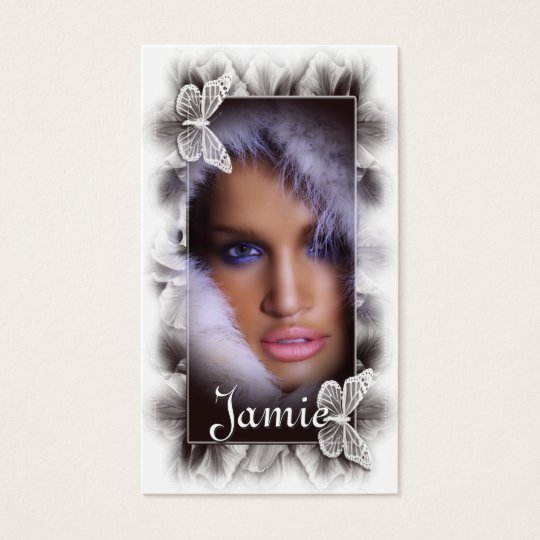 Woman with Fur/Butterflies Salon Business Cards