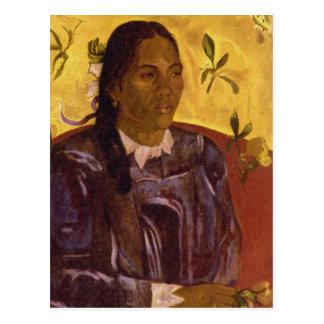 Woman with Gardenia by Paul Gauguin Postcard