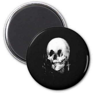 Woman with Halloween Skull Reflection In Mirror 6 Cm Round Magnet