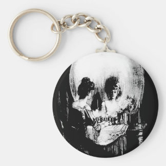 Woman with Halloween Skull Reflection In Mirror Basic Round Button Key Ring