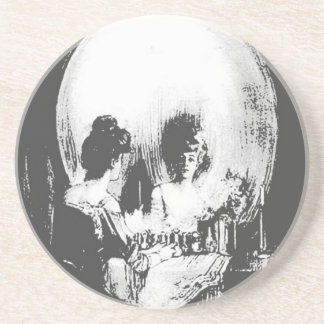 Woman with Halloween Skull Reflection In Mirror Coaster
