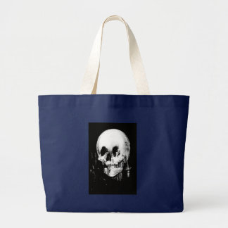 Woman with Halloween Skull Reflection In Mirror Large Tote Bag
