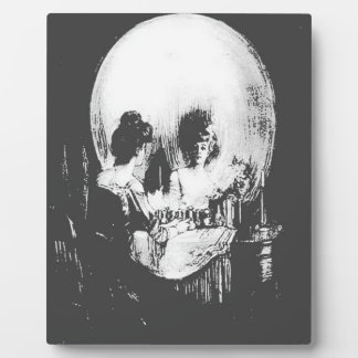 Woman with Halloween Skull Reflection In Mirror Plaque