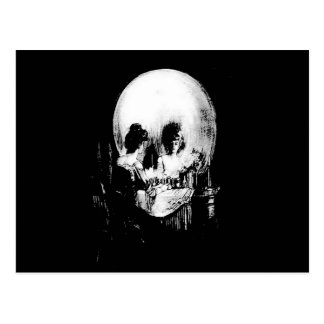 Woman with Halloween Skull Reflection In Mirror Postcard