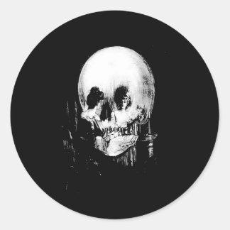 Woman with Halloween Skull Reflection In Mirror Round Sticker