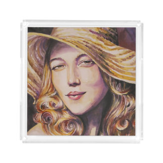 Woman with hat acrylic tray