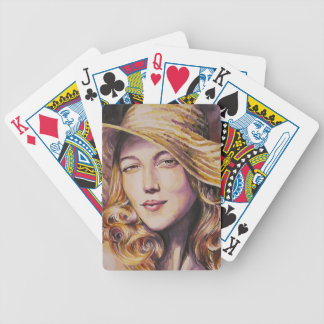 Woman with hat bicycle playing cards