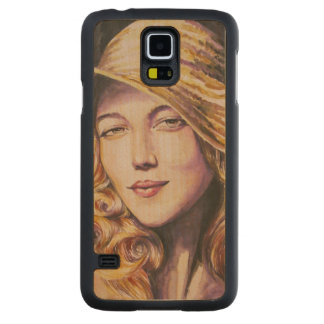 Woman with hat carved maple galaxy s5 case