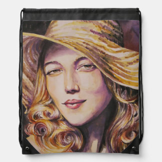 Woman with hat drawstring bag