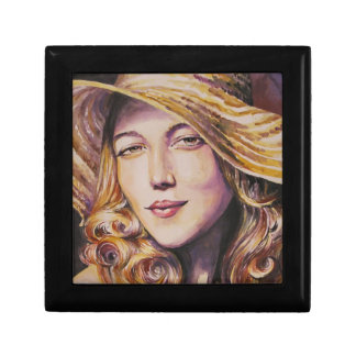 Woman with hat gift box