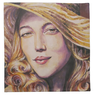 Woman with hat printed napkin