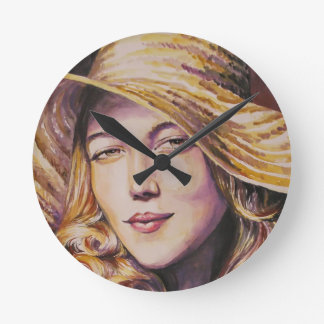 Woman with hat round clock